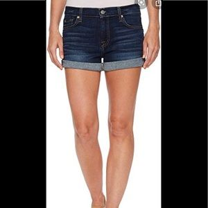 Paige Low-Rise Roll-Up Distressed Denim Shorts